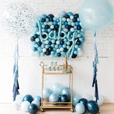 Aug 2019 - We're here to help you pick the perfect blue baby shower gown! It's time to talk BLUE. Just like pink, blue is an extremely popular baby shower theme color. Decoracion Baby Shower Niña, Idee Baby Shower, Shower Bebe, Baby Shower Backdrop, Simple Baby Shower, Baby Shower Balloons, Baby Shower Favors, Baby Balloon, Baby Shower Decorations For Boys