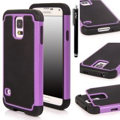Galaxy S5 Case, E LV Samsung Galaxy S5 Case - Hybrid Dual Layer Armor Defender Full Body Protective Case Cover (Hard Plastic with Soft Silicon) Shock-Absorption / Impact Resistant Bumper for Galaxy S5 / Galaxy SV / Galaxy S V / Galaxy i9600 with 1 Black Stylus, 1 Screen Protector and 1 E LV Microfiber Sticker Digital Cleaner - Purple E LV