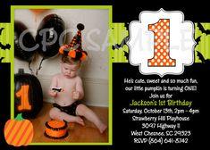 Fall Pumpkin Birthday Invitation Halloween By CutiesTieDyeBoutique 1500 1st Birthdays