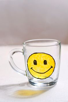 Hand painted mug with big yellow smile. Custom smile you want. Stained-glass effect cup. Kitchen decor. Engagement gifts. Transparent view - pinned by pin4etsy.com