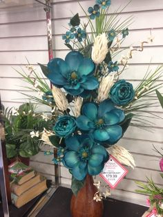 Artificial Floral Arrangements, Flower Arrangements Simple, Flower Centerpieces, Flower Vases, Artificial Flowers, Flower Decorations, Wedding Centerpieces, Teal Flowers, Silk Flowers