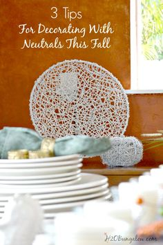 Tips for decorating with neutrals this season and how I easily upcycled and transformed my pieces into neutral home decor for the season. www.H2OBungalow.com #falldecor #FinishMaxPro