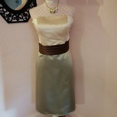 NWOT T-Length Formal Dress Green, brown, and cream strapless T-Length dress. Beautiful brown pleats at the natural waist line. Chest is padded with boning in bodice. Bought to wear in wedding then dresses were changed, so never was worn. Zipper in back. Bill Levkoff Dresses Strapless