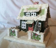 Two little glitter houses from one template - the roof isn't crocked but the pic sure looks like it is.