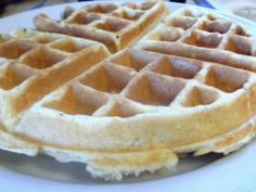 Waffles for Two- made 4 waffles. JJ said they were best ever. Brian said delicious and tasted like waffle cones