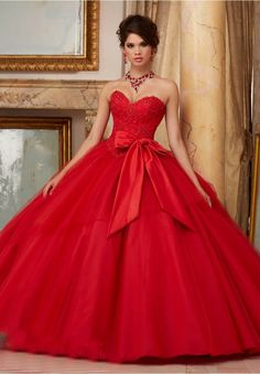 Sexy Sweetheart Floor length Ball Gown Bows waist Applique Beaded tulle wedding dress 2017 Red