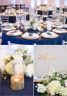 gold and navy table decor ideas / http://www.deerpearlflowers.com/navy-blue-and-gold-wedding-color-ideas/2/