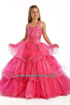 Pinkes Blumenmädchenkleid Brautjungfernkleid Abendkleid Ballkleid für Mädchen  www.modeshop-1.de