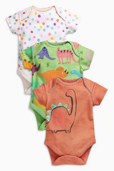 Peach Dinosaur Short Sleeve Bodysuits Three Pack (0mths-2yrs)