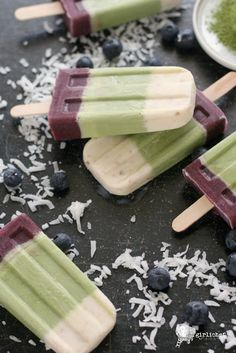 Coconut, Matcha and Blueberry Popsicles | Girlichef