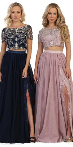 Cap shoulder two pieces dress with chiffon slit skirt adorned lace embroidery and rhi - Two Piece Prom Dresses Bridesmaid Dresses, Prom Dresses, Formal Dresses, Wedding Dresses, Slit Skirt, Lace Embroidery, Two Piece Dress, Two Pieces, Chiffon