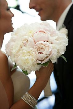 Classic Bouquet With White, Ivory, & Light Pastel Pink Peonies~~