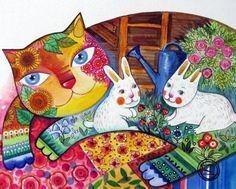"""Chat & lapins"" par Oxana Zaika"