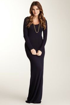 Go Couture Long Sleeve Scoop Neck Maxi Dress by Go Couture on @HauteLook
