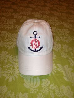 Hey, I found this really awesome Etsy listing at http://www.etsy.com/listing/154336481/nautical-anchor-monogram-baseball-hat