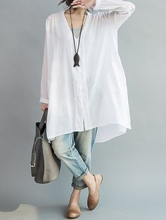 e8db9b9c539 O-Newe Casual Women Loose White Cotton High Low Blouse - Newchic Mobile  version.