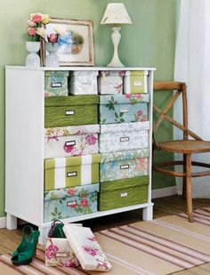 DIY Storage Boxes To stow shoes and sweaters, wrap cardboard boxes in pretty paper, then label them. A mix of patterns can look gorgeous—just make sure a single color or motif ties them all together. Stack boxes on closet shelves, or try repurposing a small dresser or bookshelf as seen here. Storage Room, Office Storage, Closet Storage, Decorative Storage Boxes, Diy Storage With Cardboard Boxes, Diy Storage Boxes, Craft Storage, Storage Hacks, Craft Organization