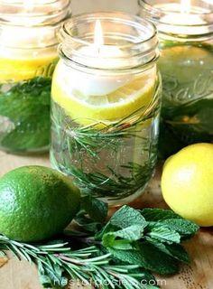 流行中のジャーをつかって、レモン、ライム、ミントなどのハーブと水をいれてキャンドルを浮かべます。 見た目も爽やか!