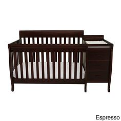 The Mikaila Milano 3-in-1 convertible crib is perfect for the space-conscious family. Its versatile build creates the perfect baby station and the changing table comes equipped with three drawers and two unit shelves.
