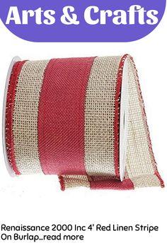 Renaissance 2000 Inc 4' Red Linen Stripe On Burlap Ribbon … (This is an affiliate link)