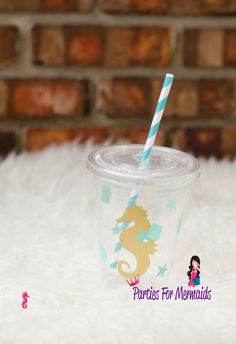 Mint Green  and gold seahorse plastic cups with lids  Ready