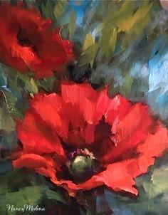 Poppy Offshoot   by Nancy Medina   6X8   Oil on Linen Panel   Purchase Information     Flower Painting Workshops   Nancy Medina Web Sit...