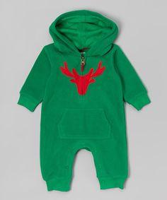 Loving this Green Reindeer Fleece Hoodie Playsuit - Infant on #zulily! #zulilyfinds