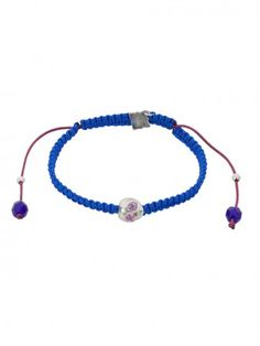 Baby Skull & Braided Neon Cord Bracelet with Blue Tourmaline eyes by Suicide Blonde