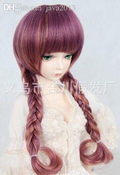 Gros Bjd Doll Sd Dz Dod Poupée Longs Bouclés Bang Neat Tresse Violet Multicolors Cheveux Cosplay Perruque 1/3