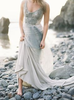 blue/grey wedding dress