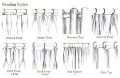 The Magnificent Types Of Curtains Designs with Curtain Names Styles Decorate The House With Beautiful Curtains 37821 above is one of pictures of home decor Drapery Styles, Curtain Styles, Curtain Designs, Curtain Ideas, Types Of Curtains, Curtains With Blinds, Gypsy Curtains, Swag Curtains, Drapery Panels