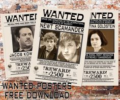free download fantastic beasts and where to find them wanted posters for newt scamander jacob kowalski and tina goldstein --party decor