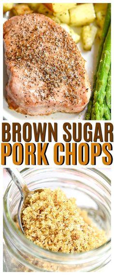 3 Ingredient Brown Sugar Pork Chops will be your new favorite pork chop recipe.- 3 Ingredient Brown Sugar Pork Chops will be your new favorite pork chop recipe. If you love easy pork chop recipes this one is made for you! Best Pork Chop Recipe, Easy Pork Chop Recipes, Easy Pork Chop Marinade, Recipes With Pork Chops, Easy Crockpot Pork Chops, Best Baked Pork Chops, Grilled Pork Chops, Oven Pork Chops, Boneless Pork Chops