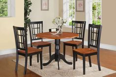 5PC ROUND DINETTE KITCHEN TABLE w/ 4 NICOLI WOOD SEAT IN BLACK & CHERRY FINISH  http://www.ebay.com/itm/5PC-ROUND-DINETTE-KITCHEN-TABLE-w-4-NICOLI-WOOD-SEAT-IN-BLACK-CHERRY-FINISH-/201345629153