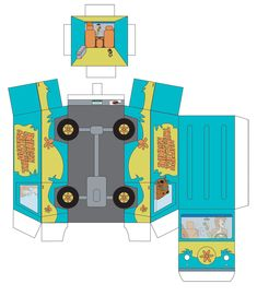 Mystery Machine Box Van by Mullroid on DeviantArt Anime Crafts, 3d Paper Crafts, Paper Toys, Diy And Crafts, Scooby Doo, Mystery Machine Van, Diy For Kids, Crafts For Kids, Paper Doll Template