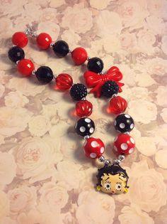 Betty Boop Girls Chunky Bead Necklace - Chunky Bubblegum beads - Jewelry
