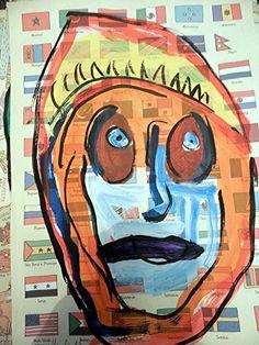 Portrait Acryl auf Papier Pop Art Direkt vom Künstler Kopf Flaggen