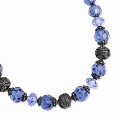 """NEW 1928 SILVERTONE BLUE ACRYLIC & GLASS BEADS 16""""-19"""" NECKLACE BLACK PLATED #1928 #StrandString"""