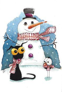 Original watercolor painting whimsical StressieCat snowman crow bird dressed up #IllustrationArt