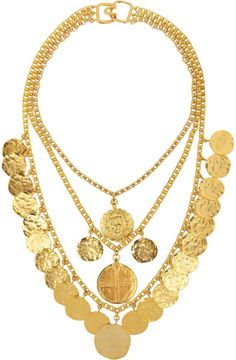 Goldplated Coin Necklace - Lyst