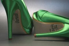 Shoes --  Emerald Green Peeptoes with Silver Rhineston Ring and Save the Date Decals
