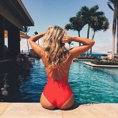 Blogger Tash Oakley wearing our Bardot one piece swimsuit