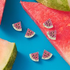 Enjoy a slice of summer all year long with this juicy pair of earrings #NationalWatermelonDay 🍉 Item #: 927246 Peridot Color, Peridot Stone, Green Peridot, Trendy Jewelry, Jewelry Trends, Fine Jewelry, National Watermelon Day, Face Jewellery, Front Back Earrings