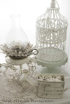 Shabby chic display - lantern, antique birdcage and white tin