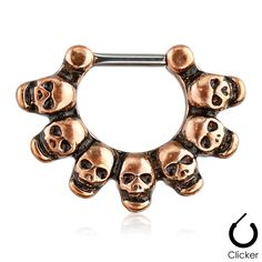 Linked Skulls 316L Surgical Steel Bar Septum Clicker Ring - Steel Expression