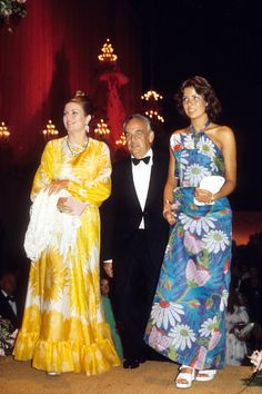 """gracefilm: """"Princess Grace and Prince Rainier of Monaco with Princess Caroline at a Red Cross Gala to mark the anniversary of the Monaco Red Cross. Both princesses wore Marc Bohan for Dior. Grace's was made of yellow floral. Andrea Casiraghi, Charlotte Casiraghi, Caroline Von Monaco, Kelly Monaco, Princess Grace Kelly, Princess Stephanie, Philippe Junot, Albert Von Monaco, Camille Gottlieb"""