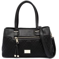 Kardashian Kollection 3345 Black Handbag (97 CAD) ❤ liked on Polyvore featuring bags, handbags, shoulder bags, kardashian kollection purses, black quilted handbag, black purse, black shoulder bag and black shoulder handbags