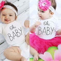 Newborn Baby Boy Girl Short Sleeve O-Neck Jumpsuit Letter Printed Bodysuit Playsuit Clothes Outfit 0-18Month #Affiliate