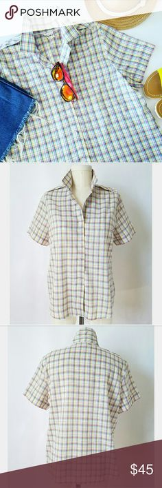 "Vintage Pastel Plaid Top Such a cutie! 65% polyester  35% cotton  Buttons down CF Epaulettes at shoulders Approximately size Medium  41"" bust and all the way down 15.75"" cross shoulder  24"" long Excellent vintage condition-no holes, stains or rips   ??PLEASE READ CLOSET INFO AND POLICIES POST?? Vintage  Tops Button Down Shirts"