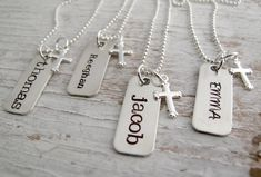 First Communion Necklace, Confirmation Gift, Hand Stamped Necklace for Boy or Girl
